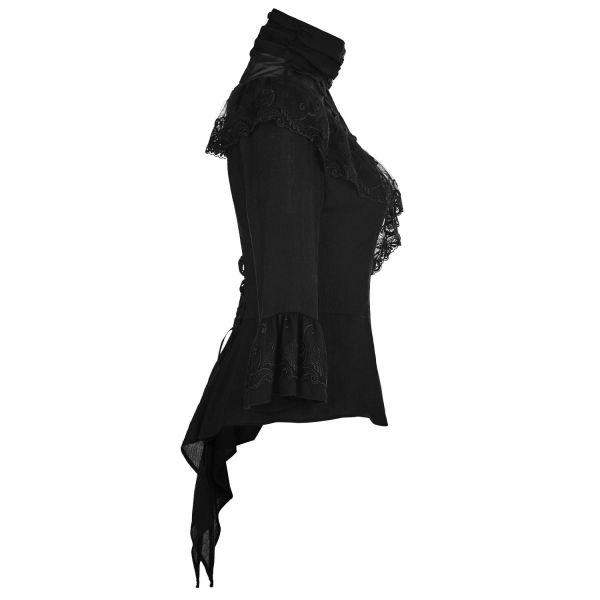 Dark Romantic Bluse mit Schößchen und Stehkragen
