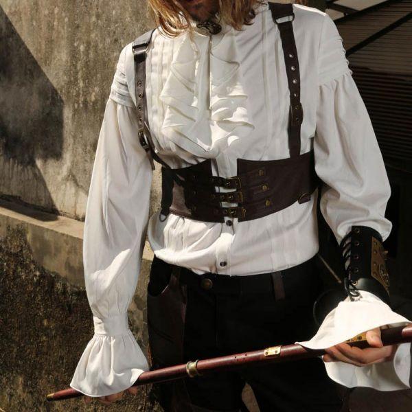 Weisses Steampunk Rüschenhemd mit Jabot Kragen