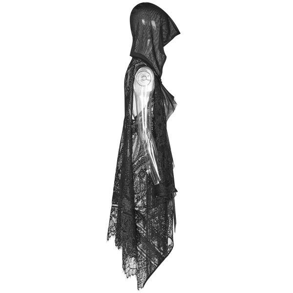 Dark Romantic Häkelspitze Cape mit Oversize Kapuze