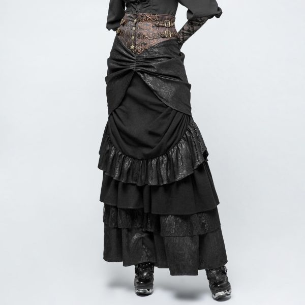 Steampunk Maxirock mit High Waist Bund im Brokatlook