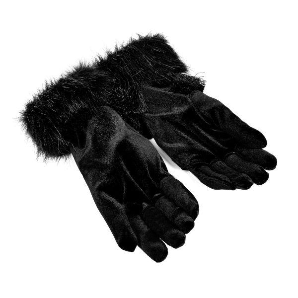 Elegante Samt Handschuhe mit Kunstfell und Troddeln