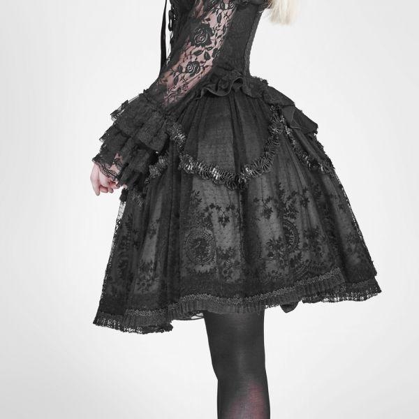 Gothic Lolita Tellerrock mit Ornamentmuster und Spitze