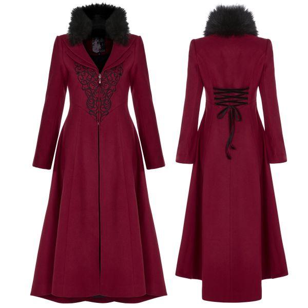 Roter Mantel mit Stickerei und abnehmbarem Plüschkragen