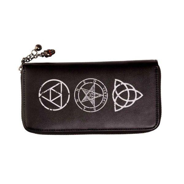 Grosse Brieftasche mit Occult Skull und Pentagramm