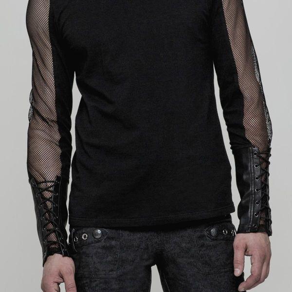 Longsleeve mit Netz und Lederimitat Arm Manschetten