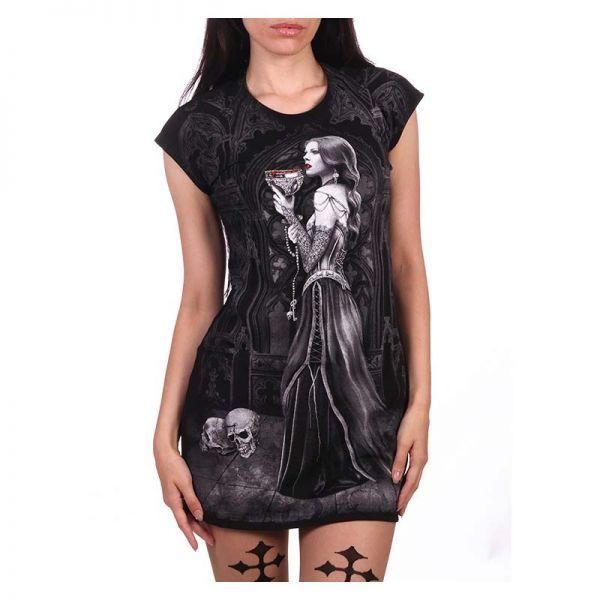 Schwarzes Minikleid mit Vampirlady im Korsett