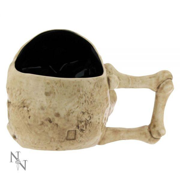 Totenschädel Tasse im Gothic Look mit Knochengriff