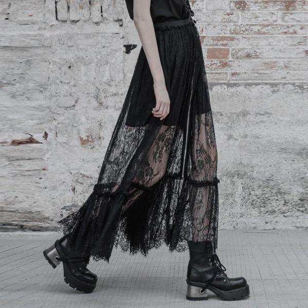 Dark Romantic Maxi Rock mit Zipper und Spitze