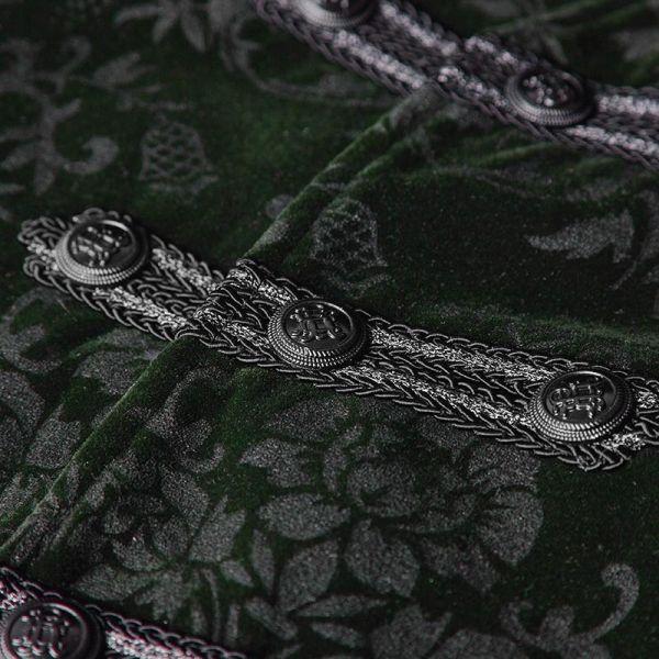 Viktorianische Weste in grüner Samt Brokat Optik