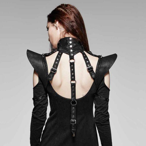 Gothic Bolero Harness mit Kragen und Schnallen