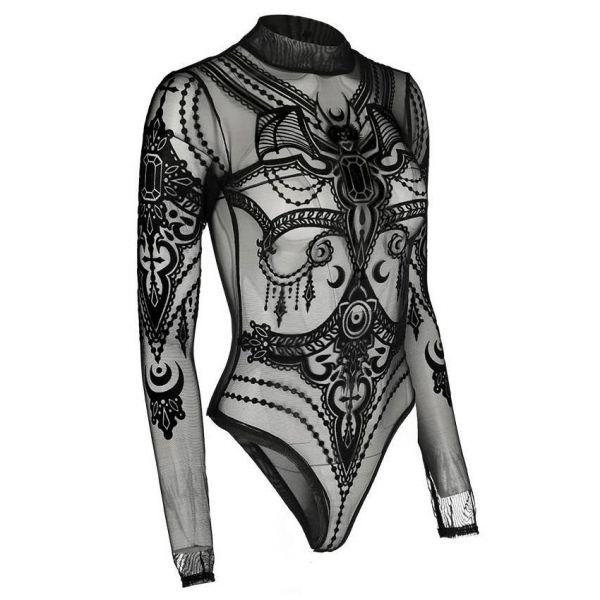 Netz Body mit Fledermaus Körperschmuck Print