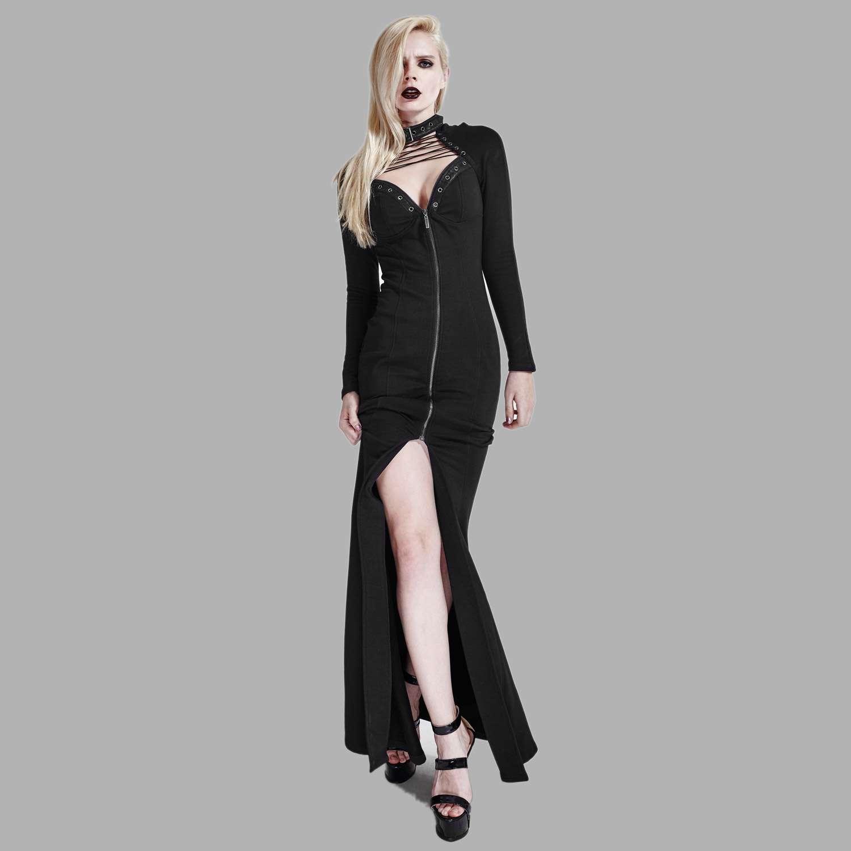 Langes schwarzes Kleid mit Bondagekragen und Schnürung  VOODOOMANIACS