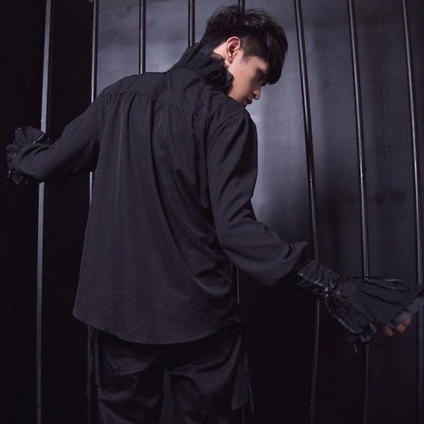 Dark Romantic Rüschenhemd mit Schnürärmeln - schwarz