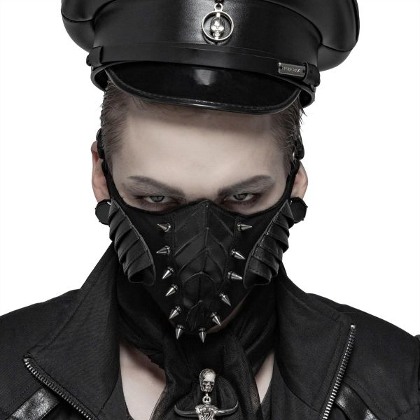 Cyber Goth Fetisch Maske mit Nieten im Insekten Look