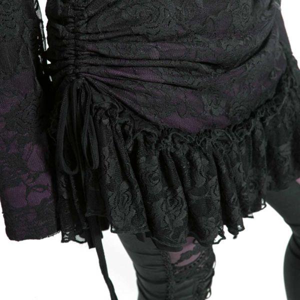 Minikleid mit Trompetenärmeln und Bondage Kragen