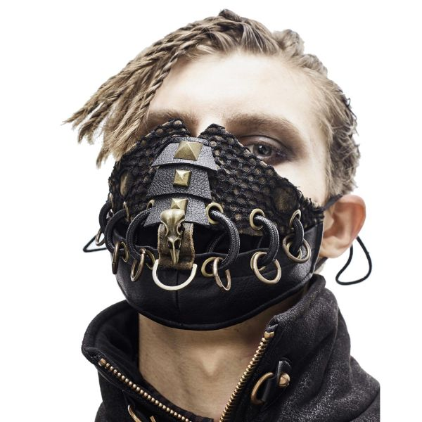 Post Apocalyptic Punk Gesichtsmaske mit Rabenschädel