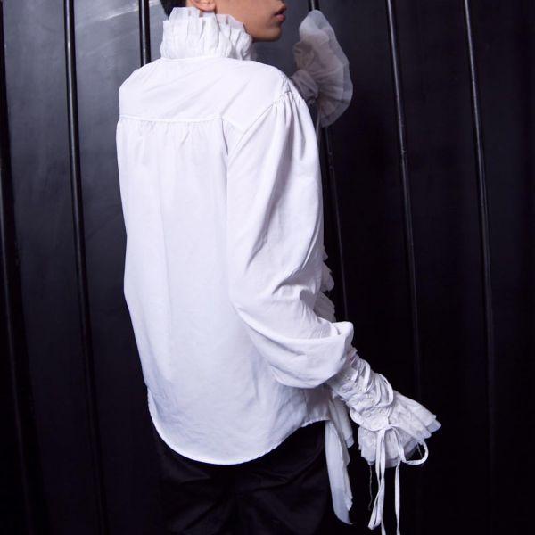 Dark Romantic Rüschenhemd mit Schnürärmeln - weiss