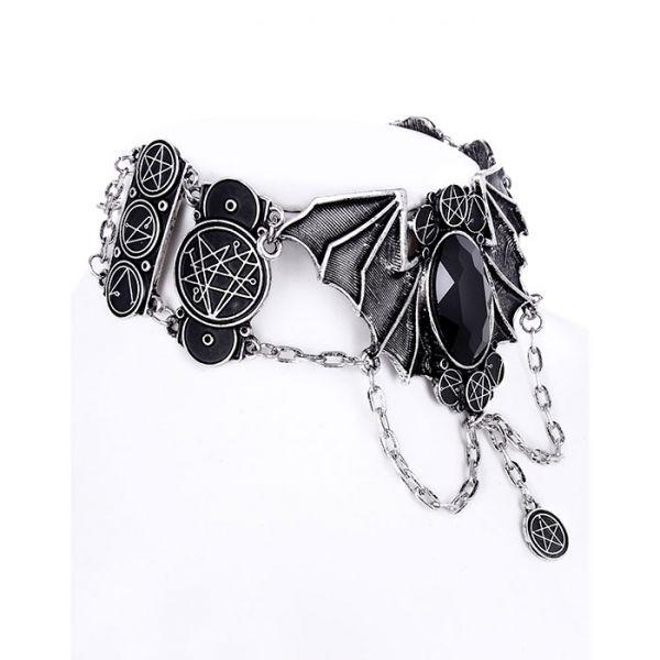 Fledermaus Collier mit Pentakel Symbolen und Stein