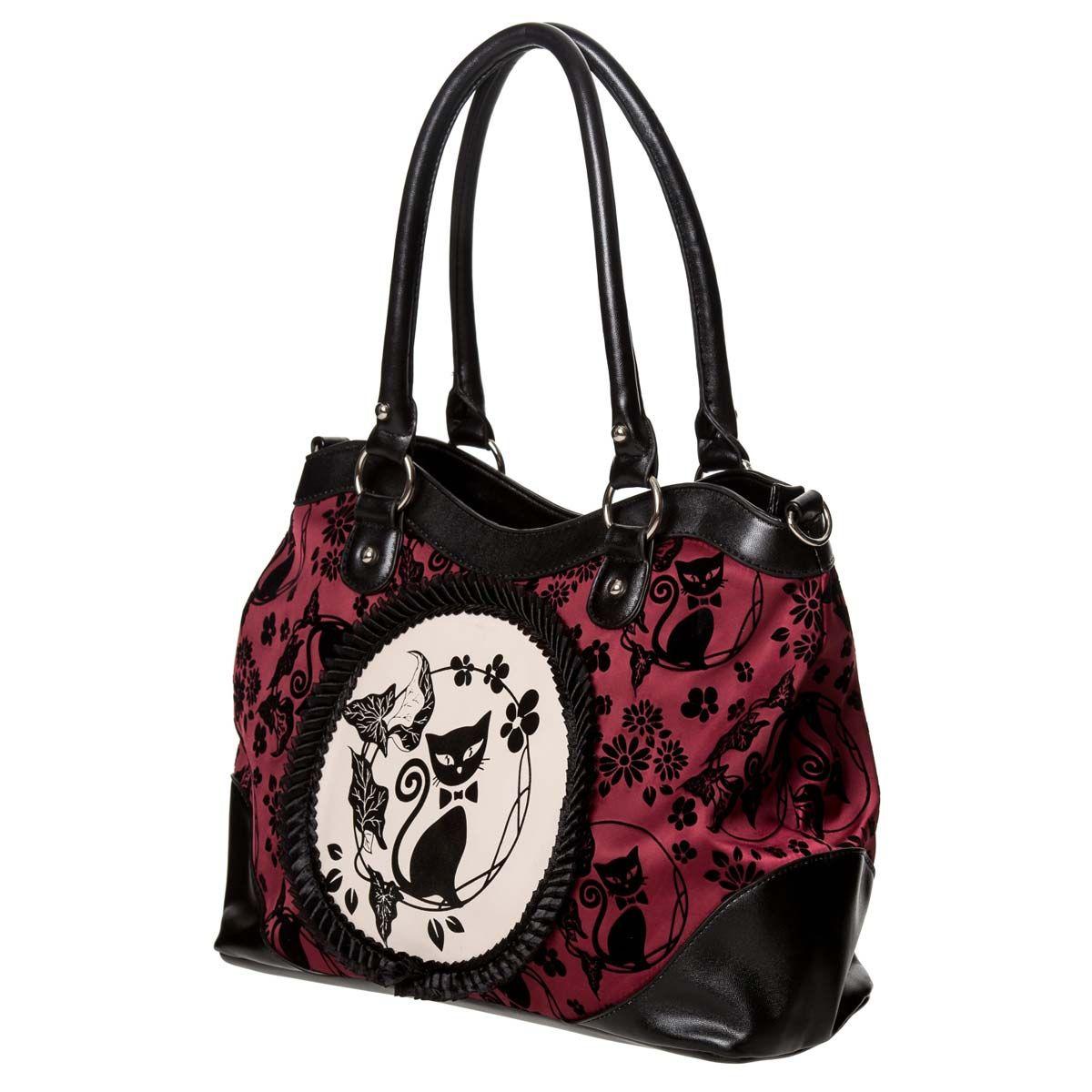 c1feb0b1766c9 Gothic Lolita Handtasche bordeaux-schwarz - Cameo Cat