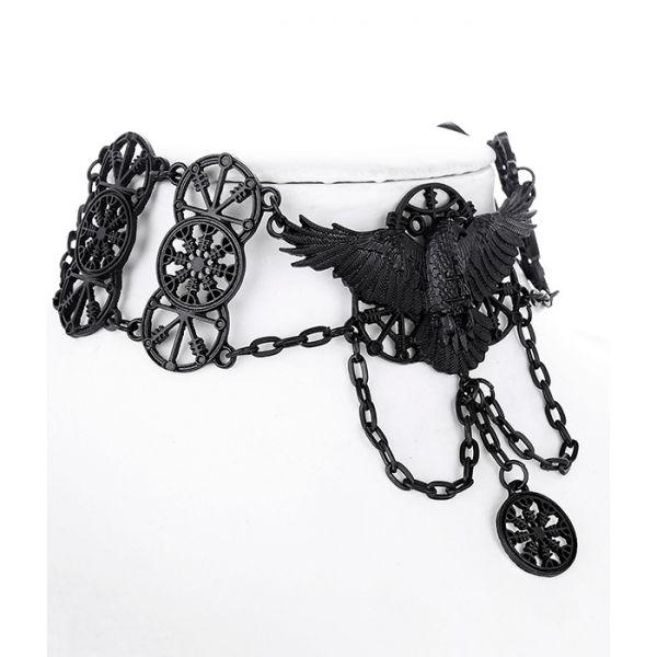 Collier schwarze Krähe und Runen Gothic Look
