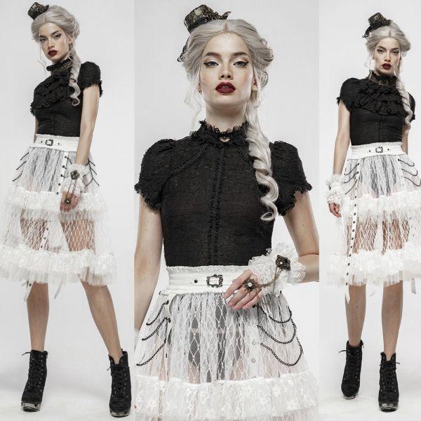 Gothic Lolita Rüschenbluse im Ausbrenner Look