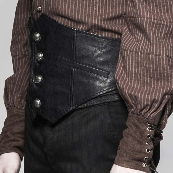 Männer Corsagen-Gürtel in schwarzer Lederoptik