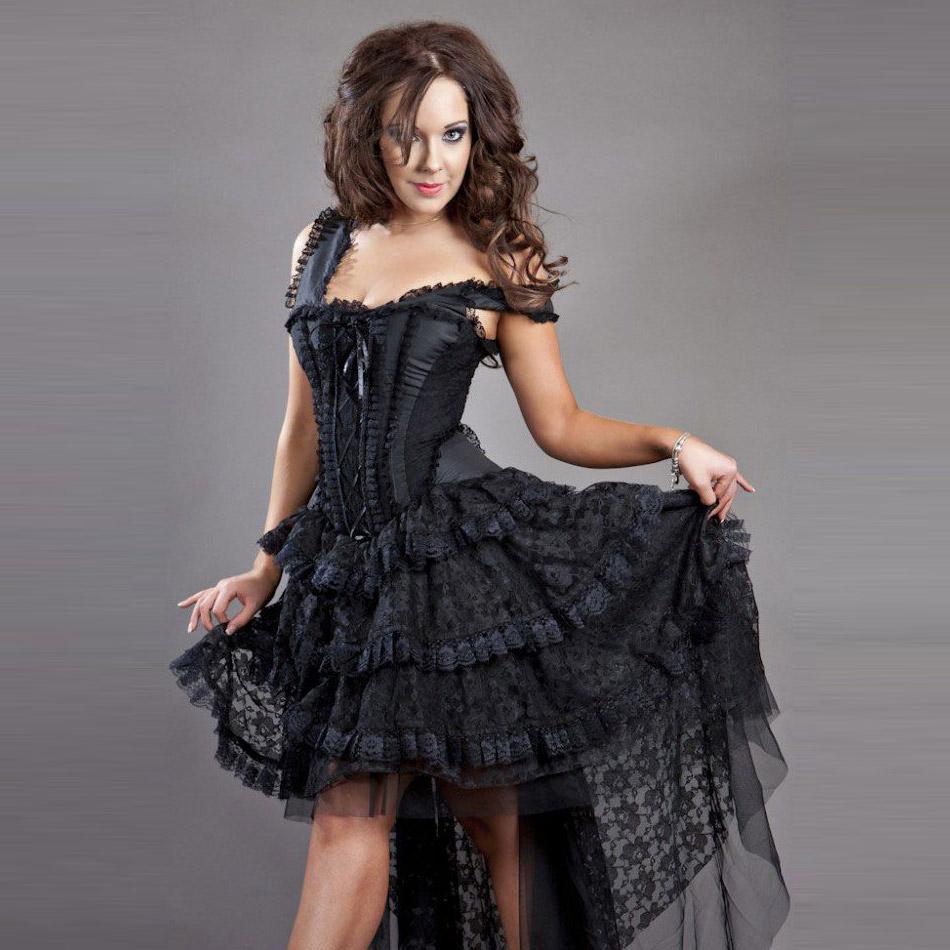 Langes Kleid aus Spitze mit Korsett - Ophelie Dress