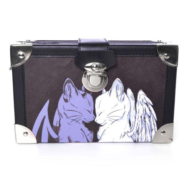 Schultertasche in Koffer Optik mit Sleeping Cats Motiv