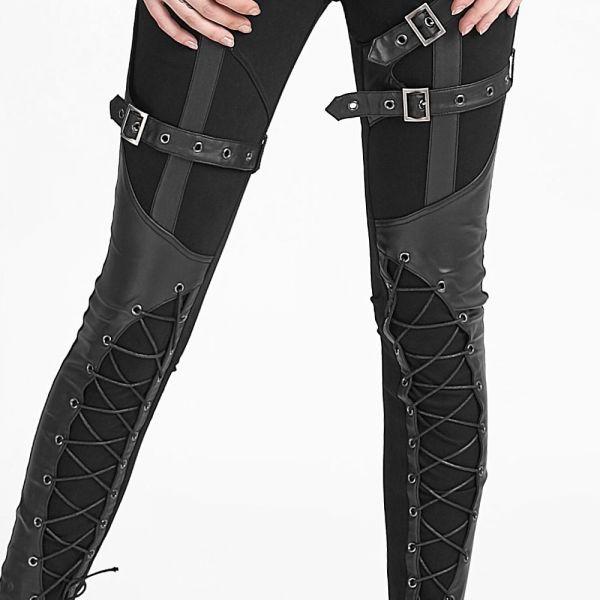 Skinny Hose im Gothic Style mit Bondages und Schnürung