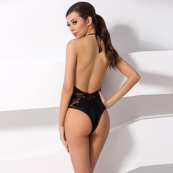 Sexy Wetlook Body mit Spitze und Schnürung