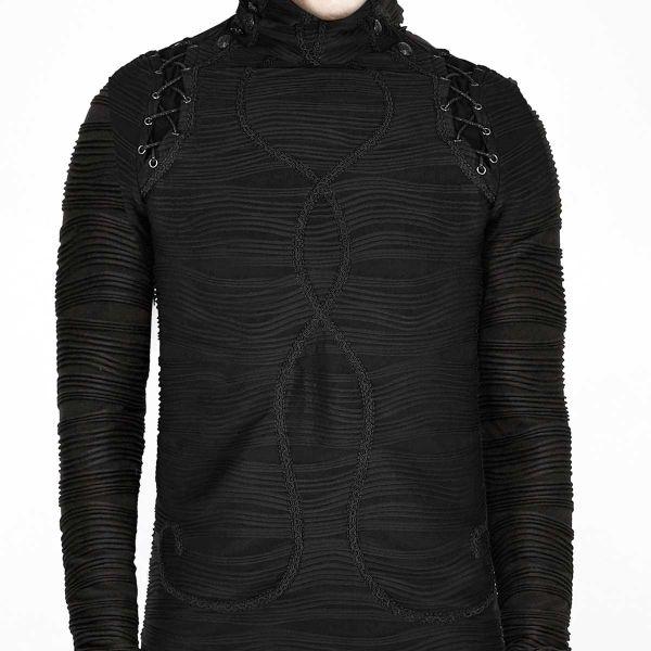 Herren Pullover im Gothic Look mit Posament Verzierung