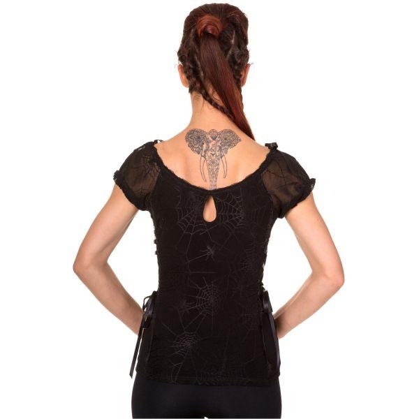 Gothic T-Shirt mit Spinnennetz Aufdruck und Schnürung