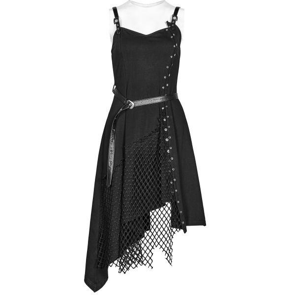 Asymmetrisches Gothic Slip Dress mit Netz und Gürtel