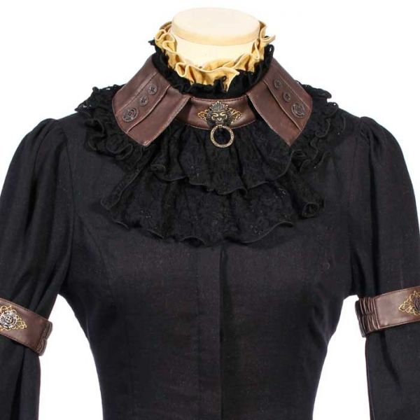 Schwarze Steampunk Bluse mit Rüschenkragen und Puffärmeln