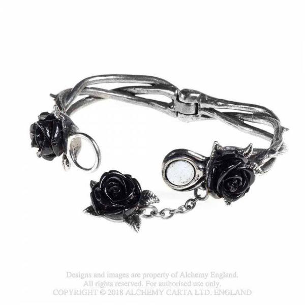 Wild Black Rose Armreif mit schwarzen Rosenblüten