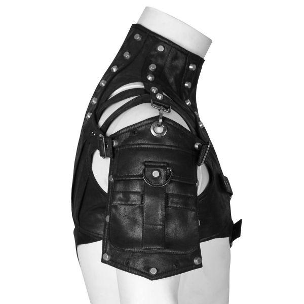Lederimitat Harness schwarz mit Tasche und Stehkragen