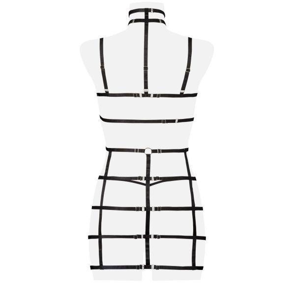 Bondage Harness Kleid mit Häkelspitze und Halsband