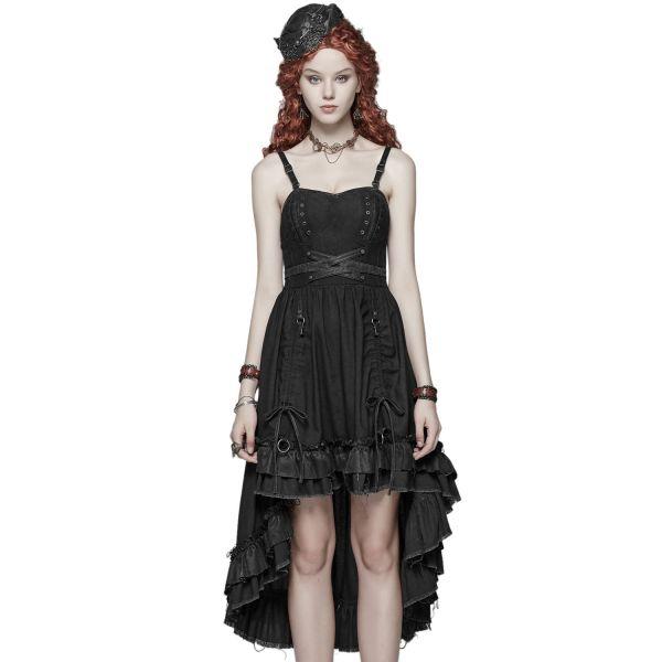 Gothic Kleid mit Herzausschnitt und raffbarem Rock
