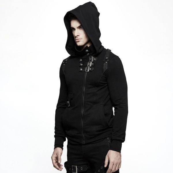 Gothic Kapuzenjacke mit asymmetrischem Zipper