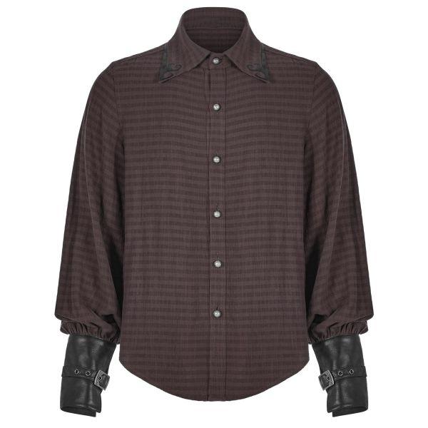 Steampunk Hemd mit schwarzen Armschienen Manschetten