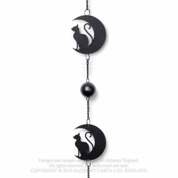 Mystisches Windspiel schwarze Katzen auf Sichelmond