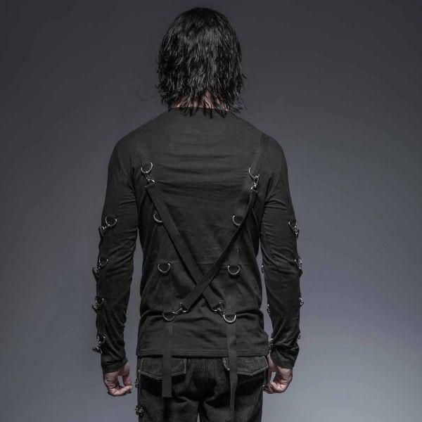 Schwarzes Langarm Shirt mit Bondages