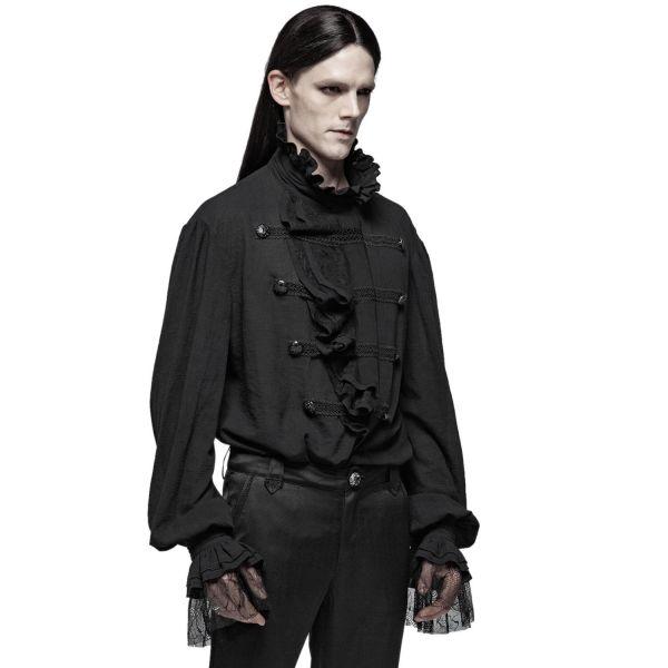 Vampir Rüschenhemd mit Stehkragen