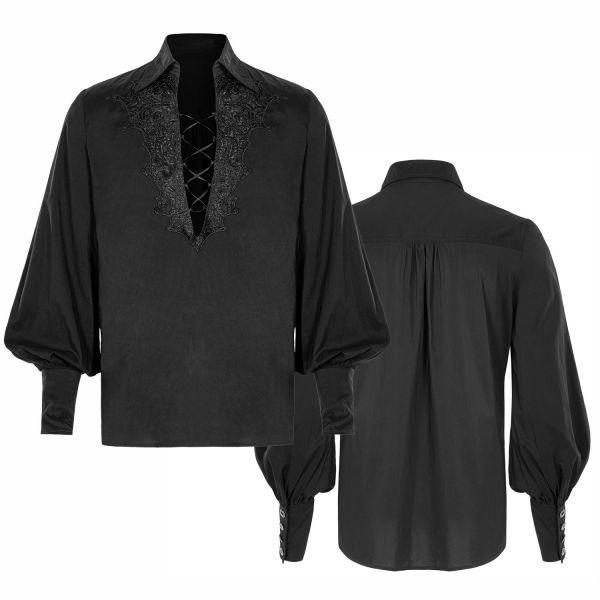 Hemd mit Bischofsärmeln und V-Ausschnitt mit Spitze