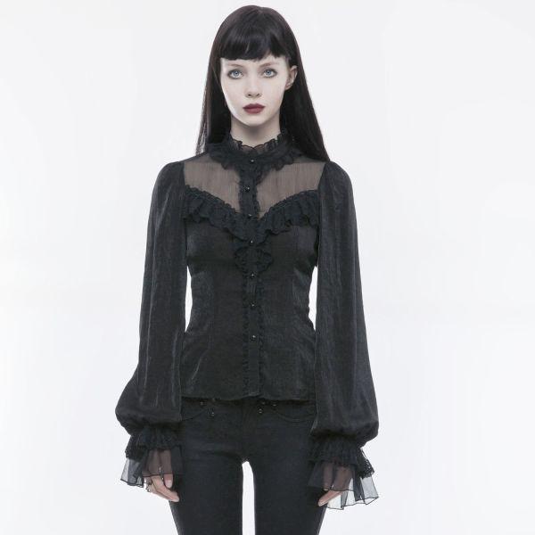 Dark Romantic Rüschen-Top im Daily Goth Style