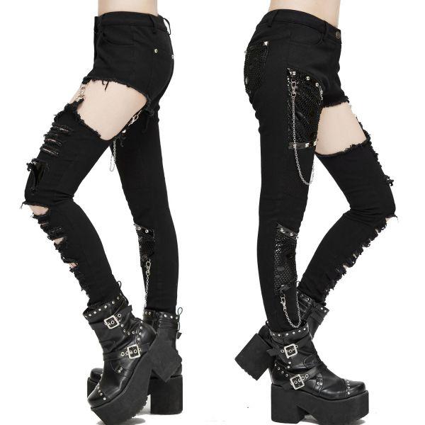 Heavy Destroyed Skinny Hose mit angestrapstem Hosenbein