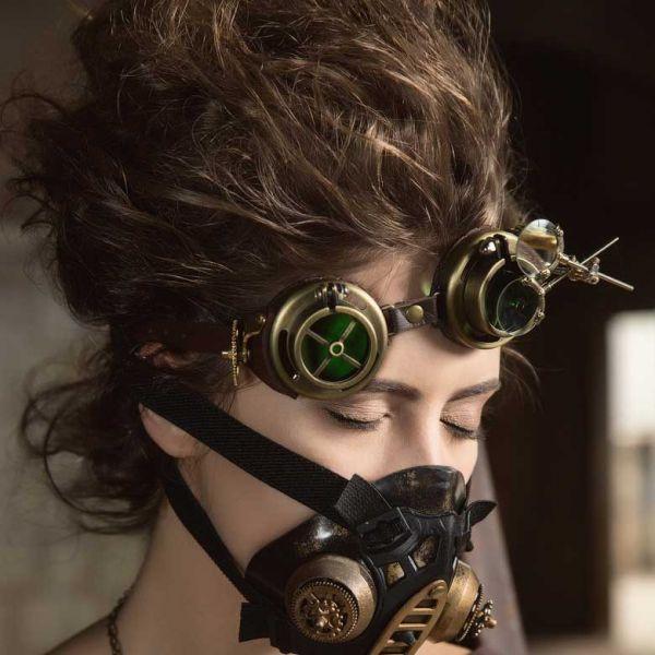 Steampunk Goggle Brille mit Vergrösserungsgläsern