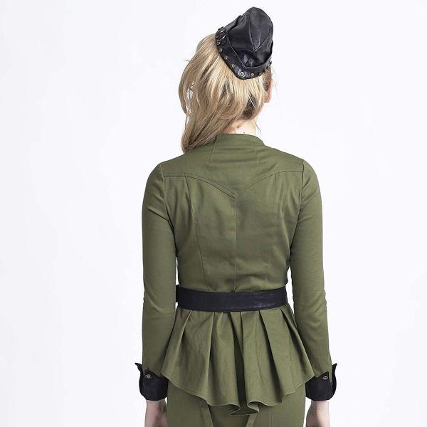 Military Bluse mit Schößchen und Gürtel - olivgrün