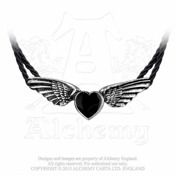 Kordel Halsband mit geflügeltem Herz - Coeur Noir