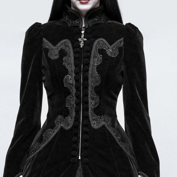 Viktorianischer schwarzer Samt Mantel mit Stehkragen